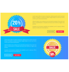 web pages set of online posters with push buttons vector image
