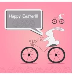 White rabbit on bicycle vector
