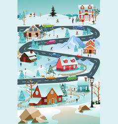 Winter village with people cars and buildings vector