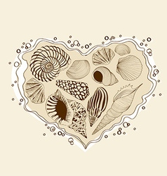With heart of seashells vector