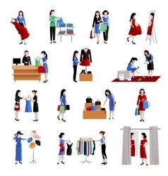 Woman Shopping Icons vector