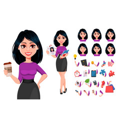 young beautiful business woman with dark hair vector image