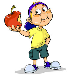 boy and apple vector image vector image