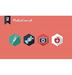 Medical health flat icons set vector image