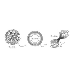 thread ball and ravel icon set isolated on white vector image vector image