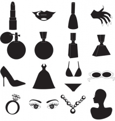 beauty icons vector image vector image