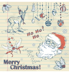 Christmas elements on notebook paper with Santa vector image