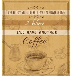 Coffee set retro poster vector