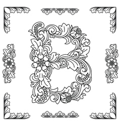 Letter B floral ornament EPS10 vector image vector image