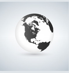 globe icon with smooth shadows and black map of vector image