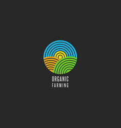 organic farm logo round shape abstract line style vector image vector image