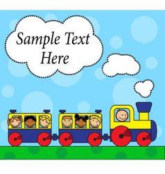 Cartoon locomotive and children traveling vector image vector image