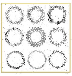 collection of hand drawn floral frames vector image