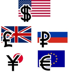 currency symbols and flags vector image vector image