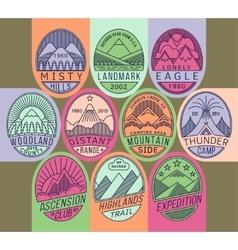 Mountain badges linear 2 mono vector image