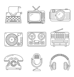 Retro media devices Icons in thin line style vector image vector image
