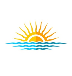 Travel logo template Sun with sea waves vector image vector image
