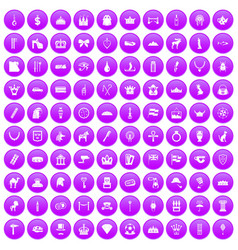 100 crown icons set purple vector