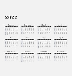 2022 year calendar horizontal design vector image