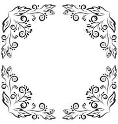 Abstract floral frame black contour vector image