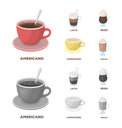 American late irish cappuccinodifferent types vector