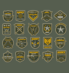 Army special forces military specialists badges vector