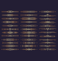 art deco borders retro dividers shapes decorative vector image