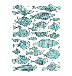 Art fish collection sketch for your design vector