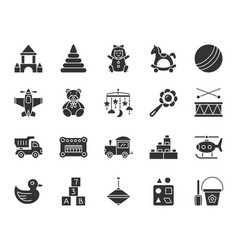 Baby toy black silhouette icons set vector