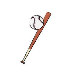 bat and ball baseball sportive equipment vector image