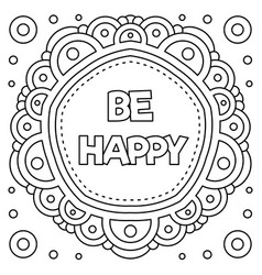 Be happy coloring page vector
