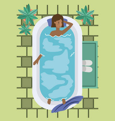 Black woman taking a bath tub vector