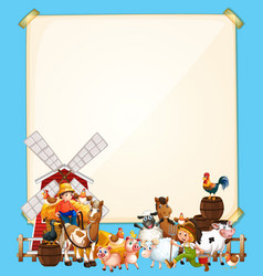 Blank paper with animal farm set on blue vector