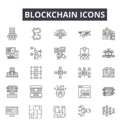 blockchain line icons for web and mobile design vector image