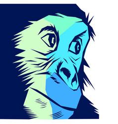 Blue chimpanzee face vector
