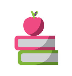 books and apple icon image vector image