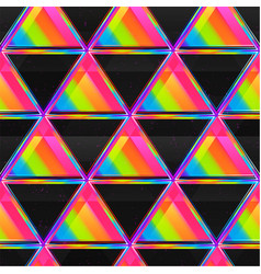 bright triangle seamless pattern with neon light vector image