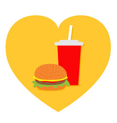 burger soda drink glass with straw icon set heart vector image