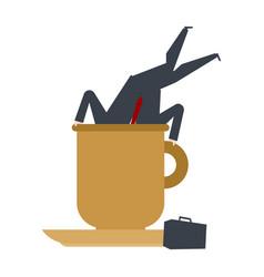 businessman in big coffee mug boss dive coffee vector image