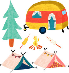camping icon set camper van tree tents vector image