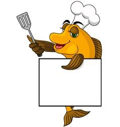 Cartoon cook fish vector