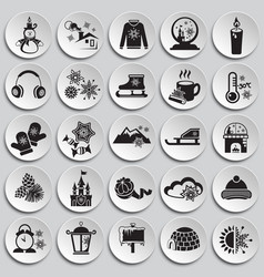 christmas icons set on plates vector image