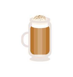 Coffee cappuccino in a glass mug vector