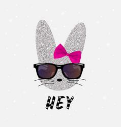 Cute rabbit in sequins bunny print vector
