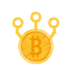 Drawing bitcoin web icon vector