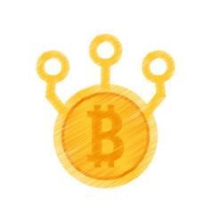 drawing bitcoin web icon vector image