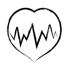 Figure medical heartbeat to cardiac rhythm vector