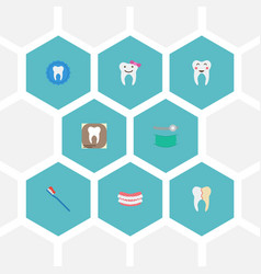 Flat icons hygiene radiology tooth seal and vector