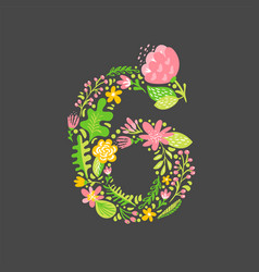 floral summer number 6 six flower capital wedding vector image