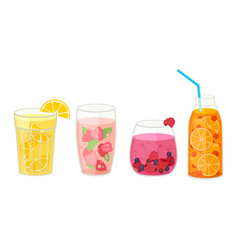 Fresh cocktails with ice cubes and sliced fruits vector